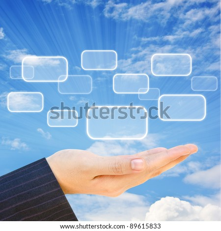 Choice button on hand and sky background - stock photo