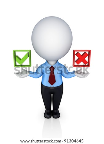 Choice concept.Isolated on white background.3d rendered. - stock photo