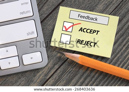 choice of acceptance in feedback survey - stock photo