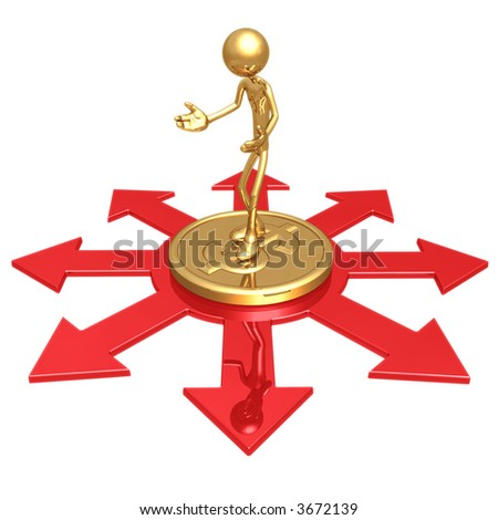 Choice Of Business Direction Standing On Gold Dollar Coin - stock photo