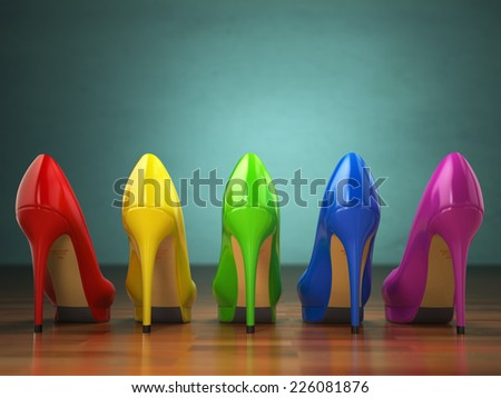 Choice of high heels shoes in different colors. Shopping concept. 3d - stock photo