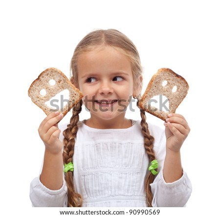 Choices concept - child with smiling and sad bread slices - stock photo