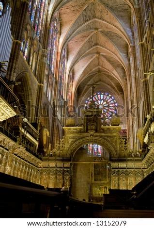 Choir in central nave of Santa Maria de Leon Cathedral. Leon. Castilla y Leon, Spain - stock photo