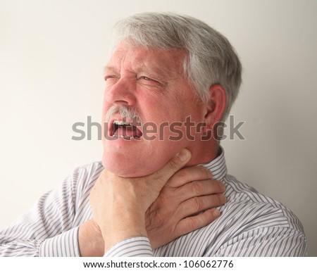choking man - stock photo