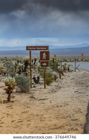 Cholla Gardens sign in a park in southern California - stock photo