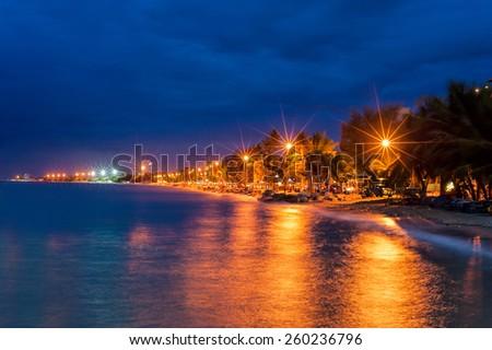 Chonburi coast at night, star light in road - stock photo