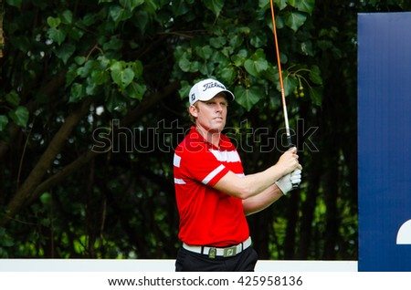 CHONBURI - DECEMBER 10 : Andrew Doot of Australia player in Thailand Golf Championship 2015  at Amata Spring Country Club on December 10, 2015 in Chonburi, Thailand. - stock photo
