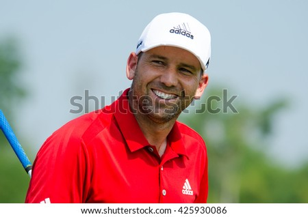 CHONBURI - DECEMBER 10 : Sergio Garcia of Spain player in Thailand Golf Championship 2015 (Tournament on the Asian Tour) at Amata Spring Country Club on December 10, 2015 in Chonburi, Thailand. - stock photo