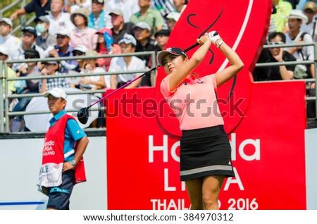 CHONBURI - FEBRUARY 28 : Bo-Mee Lee of South Korea in Honda LPGA Thailand 2016 at Siam Country Club, Pattaya Old Course on February 28, 2016 in Chonburi, Thailand. - stock photo