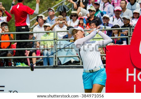 CHONBURI - FEBRUARY 28 : Minjee Lee of Australia in Honda LPGA Thailand 2016 at Siam Country Club, Pattaya Old Course on February 28, 2016 in Chonburi, Thailand. - stock photo