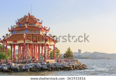 CHONBURI - JAN,13 : The Nice view of building in Chinese style at the Bang San bay where is located near Pattaya beach . There are many tourists visiting here every day. THAILAND JAN,13 2016 - stock photo