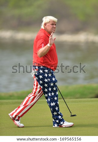CHONBURI,THA-DEC 15: John Daly in action during Asia Tour Thailand Golf Championship 2013 at Amata Spring Country Club on December -15, 2013 in Chonburi, Thailand.