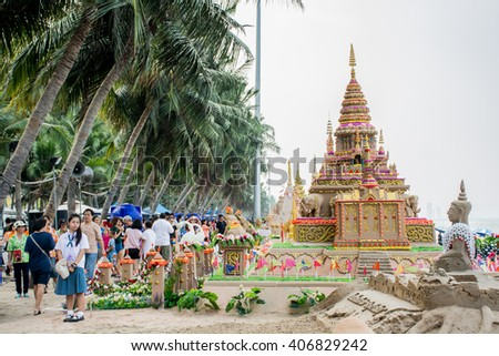 CHONBURI,THAILAND - APRIL 17 2016: The traditional hand made sand pagoda in Songkarn festival on Aril 17 in Bangsan-Chonburi, Thailand.
