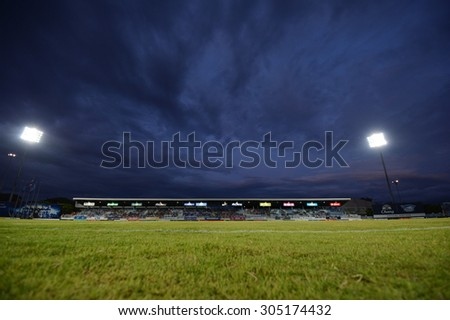 CHONBURI THAILAND- AUG 8: The Chonburi stadium home of Chonburi Football Club during the Thai Premier League 2015 between Chonburi FC and Ratchaburi FC on August 8, 2015 in Chonburi, Thailand - stock photo