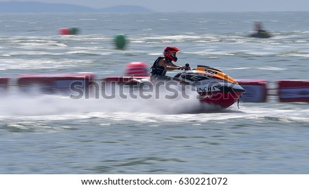 CHONBURI, THAILAND - DECEMBER 2-4, 2016: Jetski King's Cup World Cup Grand Prix at Jomtien Beach 2016 Pattaya City,Thailand.