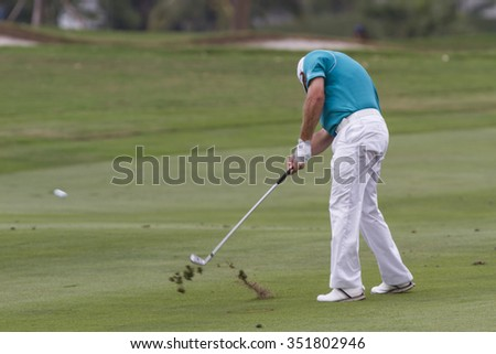 CHONBURI,THAILAND :DECEMBER 13:Lee Westwood in action during THAILAND GOLF CHAMPIONSHIP 2015  on December 13 at Amata Spring Country Club, Chonburi Thailand. - stock photo