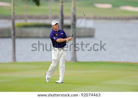 CHONBURI, THAILAND - DECEMBER 16: Lee Westwood of England in action during day two of the Thailand Golf Championship at Amata Spring Country Club on December 16, 2011 in Chonburi province, Thailand.