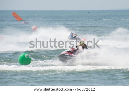 CHONBURI,THAILAND-DECEMBER 6,2015 : Unidentified riders from all over the World in jet Ski racing came to King's Cup jet Ski World  Cup 2015 Competition at Jomtien beach, Pattaya in Chonburi ,Thailand.