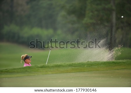 Chonburi, Thailand - FEB 20:Carly Booth of Scotland in action during Honda LPGA Thailand 2014 at Siam Country Club Pattaya Old Course on February 20, 2014 in Chonburi, Thailand.