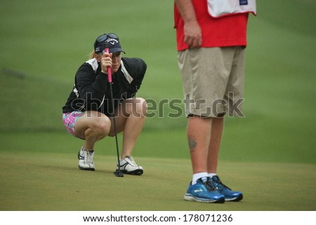 Chonburi, Thailand - FEB 21:Morgan Pressel of USA participate in a Honda LPGA Thailand 2014 at Siam Country Club Pattaya Old Course on February 21, 2014 in Chonburi, Thailand.