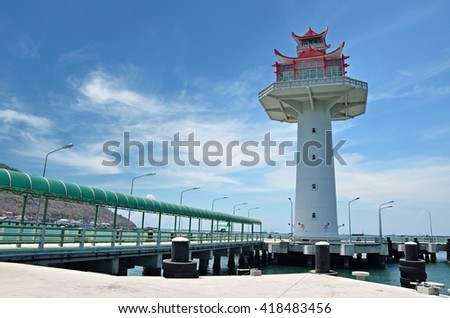 chonburi,Thailand. MAY 6:2016.The lighthouse Koh Sichang Customs pier  in Koh Sichang, Chonburi, Thailand.