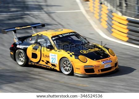 CHONBURI, THAILAND - NOVEMBER 28 : Daniel A. Bliski Kiks no.27 Porsche's driver in Bangsaen Speed Festival 2015, Round 7-8 of the Thailand Super Series 2015, at the Bangsaen Street Circuit Chon Buri. - stock photo