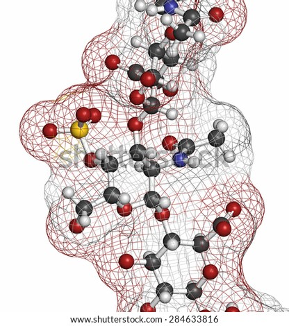 Chondroitin sulphate (short fragment). Important component of cartilage. Used as dietary supplement in treatment of osteoarthritis. Atoms are represented as spheres with conventional color coding. - stock photo