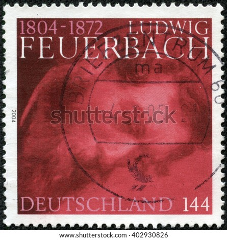 CHONGQING, CHINA - April 17, 2014 : A stamp printed in Germany shows Feuerbach, circa 2004 - stock photo