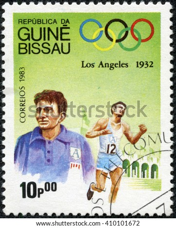 "CHONGQING, CHINA - April 24, 2014:A stamp printed in Guinea-Bissau from the ""Olympic Games, Los Angeles 1932 and 1984 "" issue shows Marathon, Juan Carlos Zabala, Argentina, circa 1983. - stock photo"