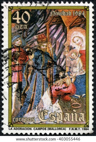 CHONGQING, CHINA - April 15, 2014:a stamp printed in the Spain shows Adoration of the Kings, Christmas, circa 1984 - stock photo