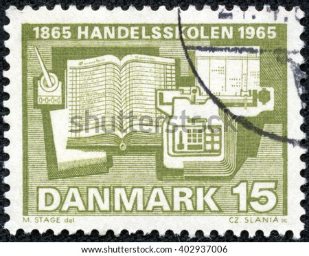CHONGQING, CHINA - April 17, 2014:stamp printed by Denmark, shows Calculator Ledger and Inkwell, circa 1965 - stock photo