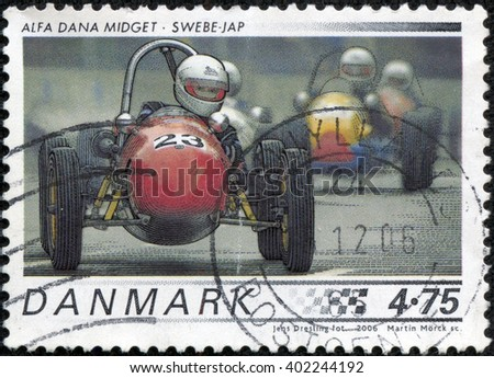 "CHONGQING, CHINA - May 13, 2014: A stamp printed in Denmark from the ""Race cars"" issue shows 1958 Alfa Dana Midget, Swebe - JAP, circa 2006. - stock photo"