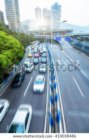 chongqing urban elevated road,china - stock photo