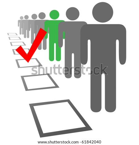 Choose a person from a line of people in selection election vote boxes - stock photo