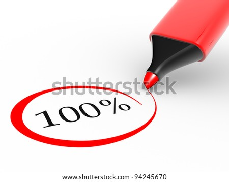 Choose 100% rate and a marker.  3d render illustration - stock photo