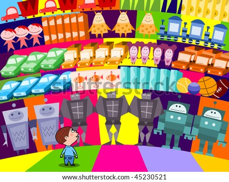 Choosing a new toy in the supermarket - raster - stock photo