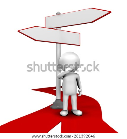 choosing a path to business or career, represented in 3d - stock photo