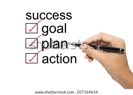 Choosing between goal plan action success - stock photo