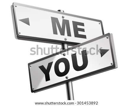 choosing between me and you, your or my opinion mariage crisis or differences leading to divorce and separation having different or separate interests and opinions - stock photo