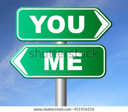 choosing between me and you, your or my opinion mariage crisis or differences leading to divorce and separation having different or separate interests and opinions 3D illustration, isolated, on white  - stock photo