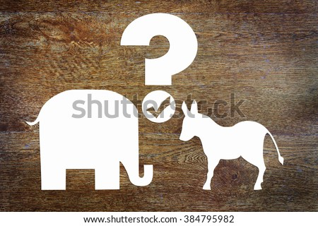 Choosing between the Democratic and Republican parties in the elections. Conceptual image with paper scrapbooking - stock photo
