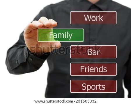 choosing family life  instead work,party - stock photo