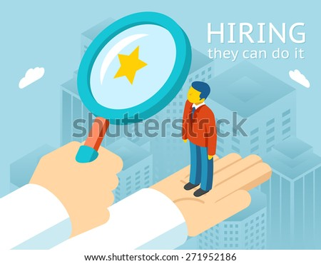 Choosing person for hiring. Job and staff, human and recruitment, select people, resource and recruit - stock photo