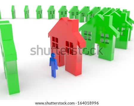 Choosing the perfect house standing out from all the others, isolated on a white background