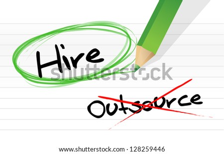 Choosing to Hire instead of Outsource illustration design - stock photo
