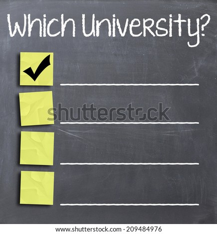 Choosing university on blackboard - stock photo
