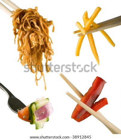 Chop sticks fork food utensils composite isolated on white - stock photo