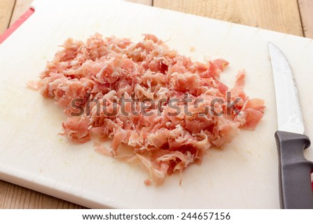 Chopped bacon - stock photo