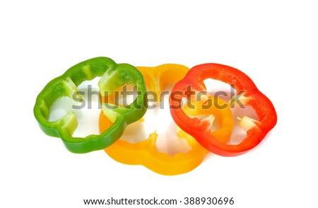 chopped bell pepper isolated on white . - stock photo