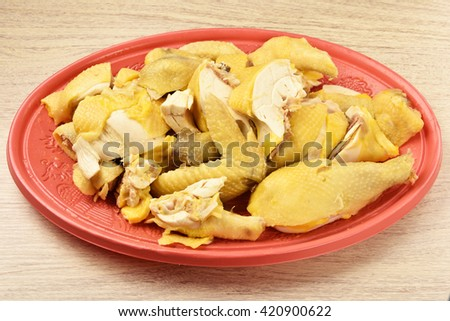 Chopped boiled chicken   - A Popular Taiwan food  - stock photo